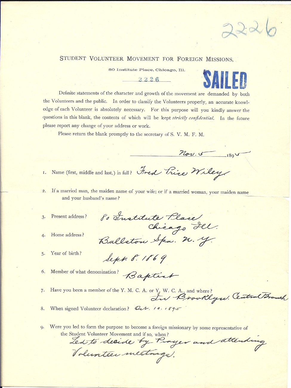 ... Volunteer Movement for Foreign Missions - Application form from 1895
